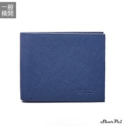 SharPei沙皮狗-凜冬騎士x橫開十字紋男士真皮短夾-雅痞藍