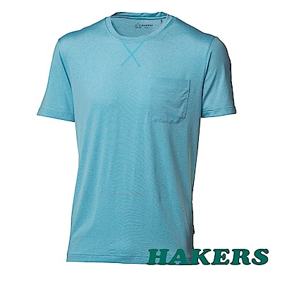 【HAKERS 哈克士】男-涼感抗菌圓領衫-淺藍