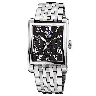 Oris豪利時 Rectangular 月相經典機械錶-黑x銀/33x46mm