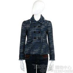MOSCHINO 藍色排釦造型針織毛呢外套