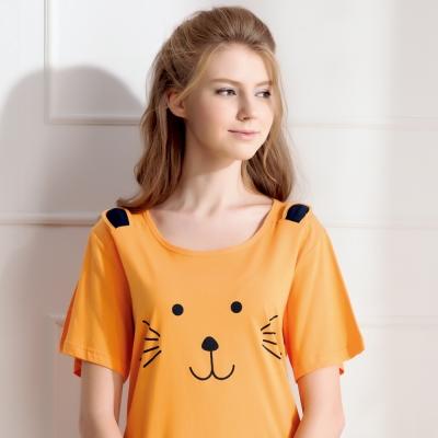 羅絲美睡衣 - 奶油小獅短袖洋裝睡衣(活力橘)