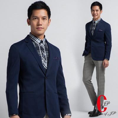 Christian-英式氣質針織單西外套-深藍