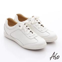 A.S.O 輕量抗震 珠光真皮綁帶奈米休閒鞋 白