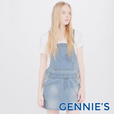Gennies專櫃-質感淺刷色牛仔吊帶裙(TJE02)牛仔藍