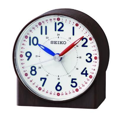 SEIKO 日本精工 滑動式秒針 靜音 鬧鐘(QHE 168 Z)-咖啡/ 8 . 2 X 7 . 8 cm
