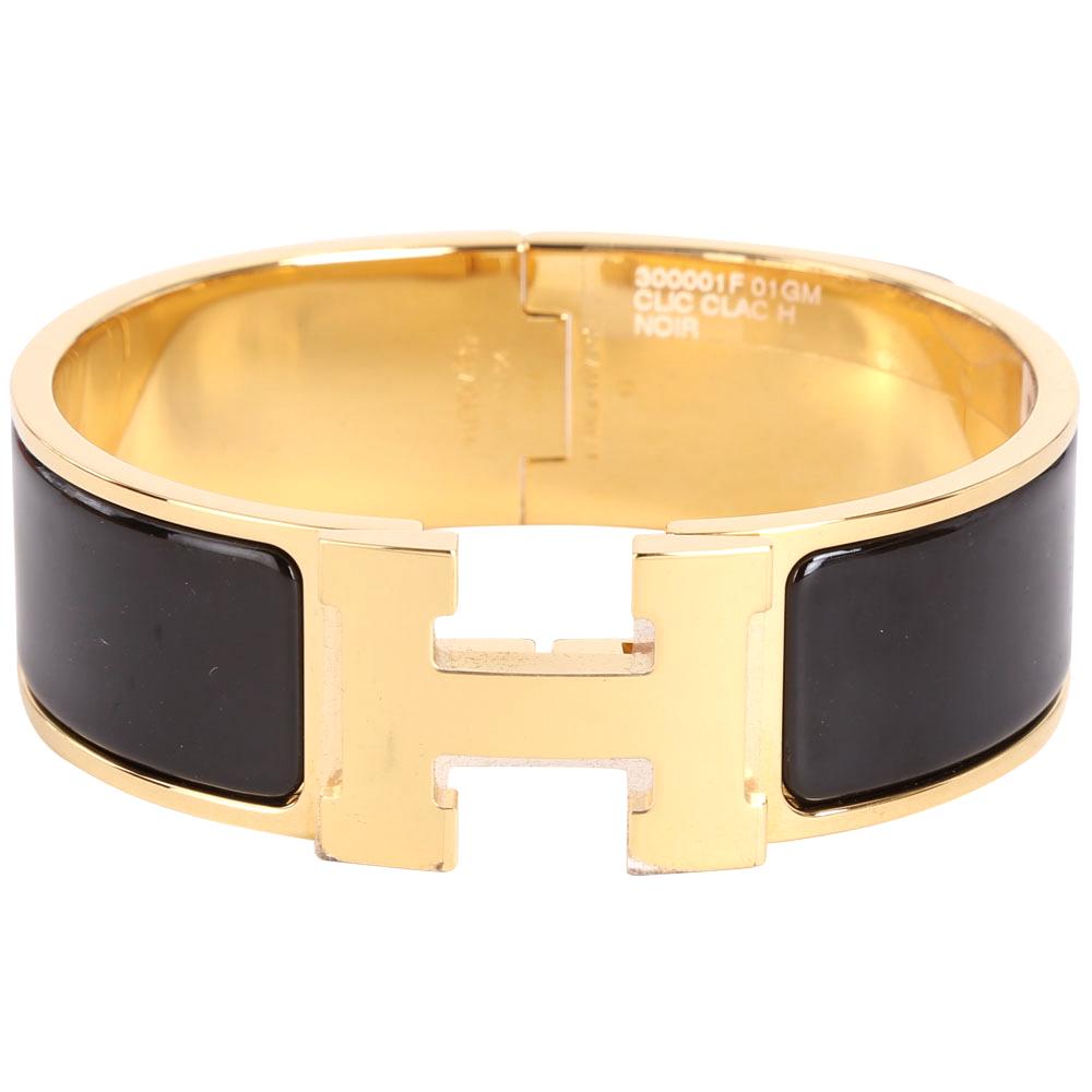 (無卡分期12期) HERMES Clic Clac H 經典LOGO設計手環(GM/黑色)