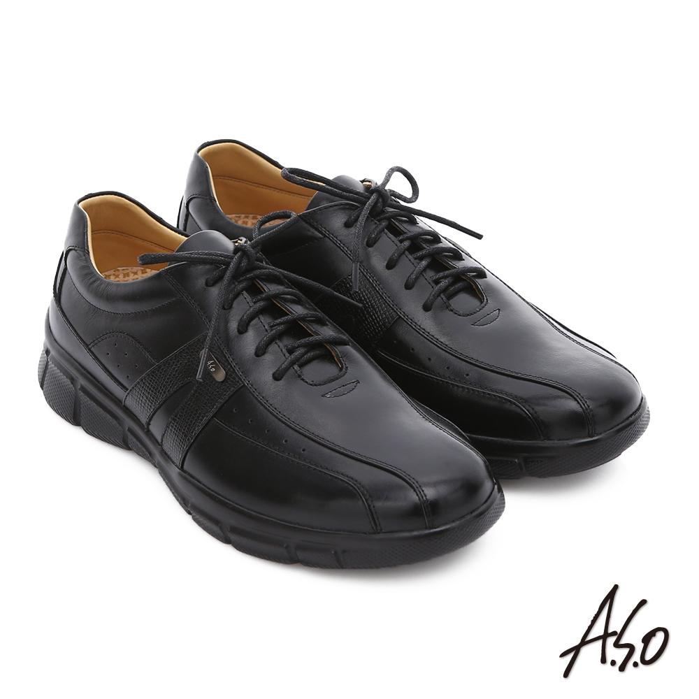 A.S.O 輕旅健步 真皮綁帶奈米氣墊皮鞋 黑