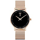TYLOR 動人時尚米蘭帶手錶-黑X玫瑰金/33mm