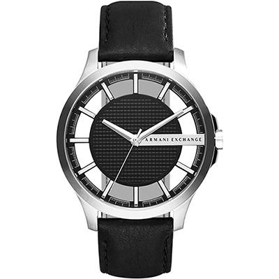 A│X Armani Exchange 時尚鏤空腕錶-黑/46mm