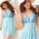 【天使霓裳】繽紛時光 一件式連身泳裝 比基尼泳衣(淺藍) product thumbnail 1