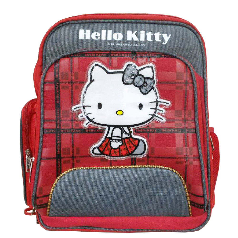 Hello Kitty 凱蒂貓 蘇格蘭格紋護脊書包