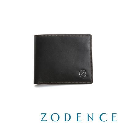 ZODENCE-MAN-優質真皮系列4卡短夾-咖