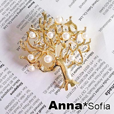 【2件399】AnnaSofia 森林精靈樹 鑲珠別針(奢金)