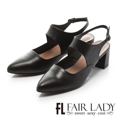 Fair Lady 優雅小姐Miss Elegant 赫本風復古皮革粗跟鞋 黑