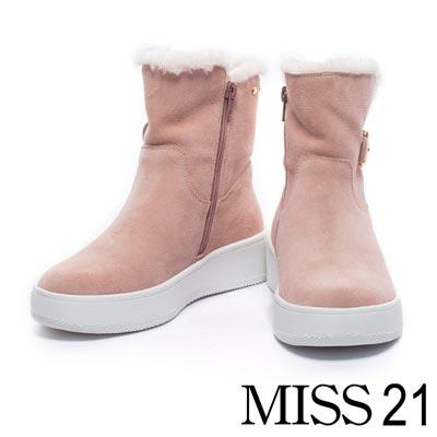 短靴 MISS 21 秋冬時尚造型金釦帶鉚釘毛絨絨厚底短靴-粉