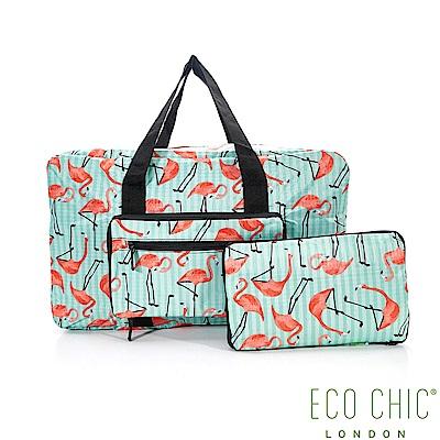 英國ECO CHIC折疊時尚旅行袋-紅鶴