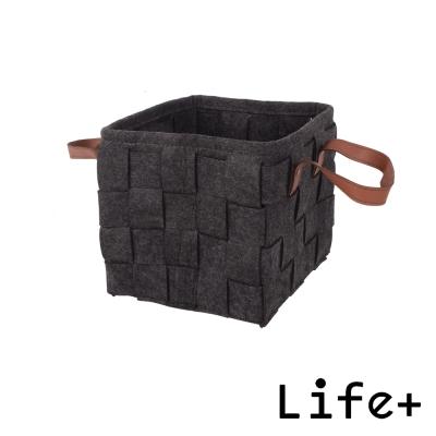 Life+ 自然風編織毛氈收納籃/置物籃 (黑色-S)