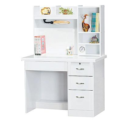 Bernice-典雅純白3.5尺書桌(上座+下座)-105x60x147cm