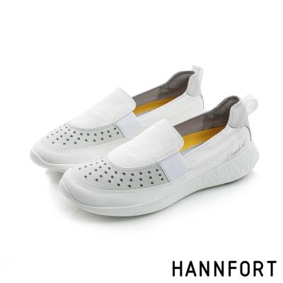 HANNFORT ICE網孔皮革透氣休閒便鞋-女-簡單白