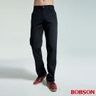 BOBSON 男款條紋伸縮黑色直筒褲