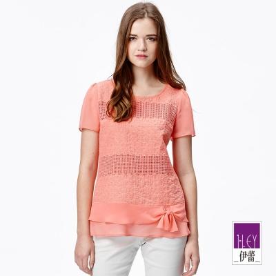 ILEY伊蕾-花朵刺繡網布拼接上衣-白-桔