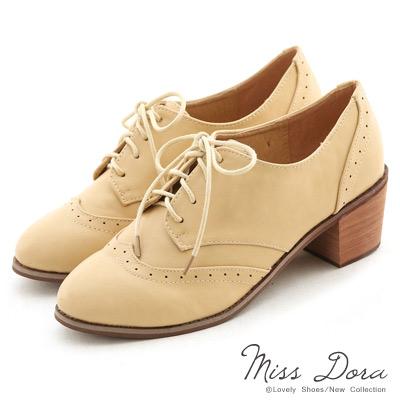 Miss-Dora-春語序曲-綁帶雕花粗跟牛津鞋-杏