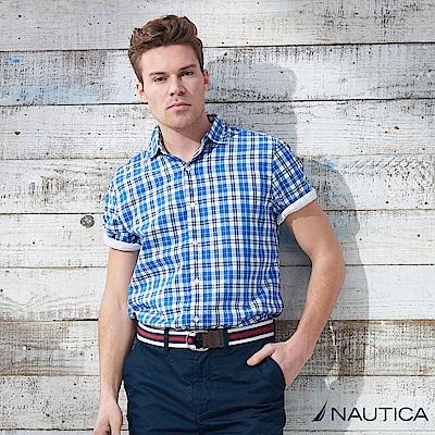Nautica 經典百搭格紋短袖襯衫 -藍