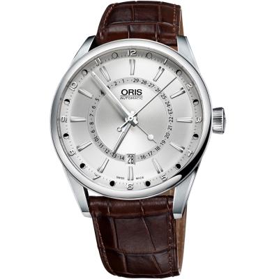 Oris Artix 指針式月亮周期腕錶-銀x咖啡/41mm