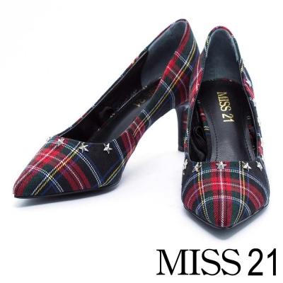 高跟鞋 MISS 21 搖滾個性金屬星星綁帶尖頭高跟鞋-格紋