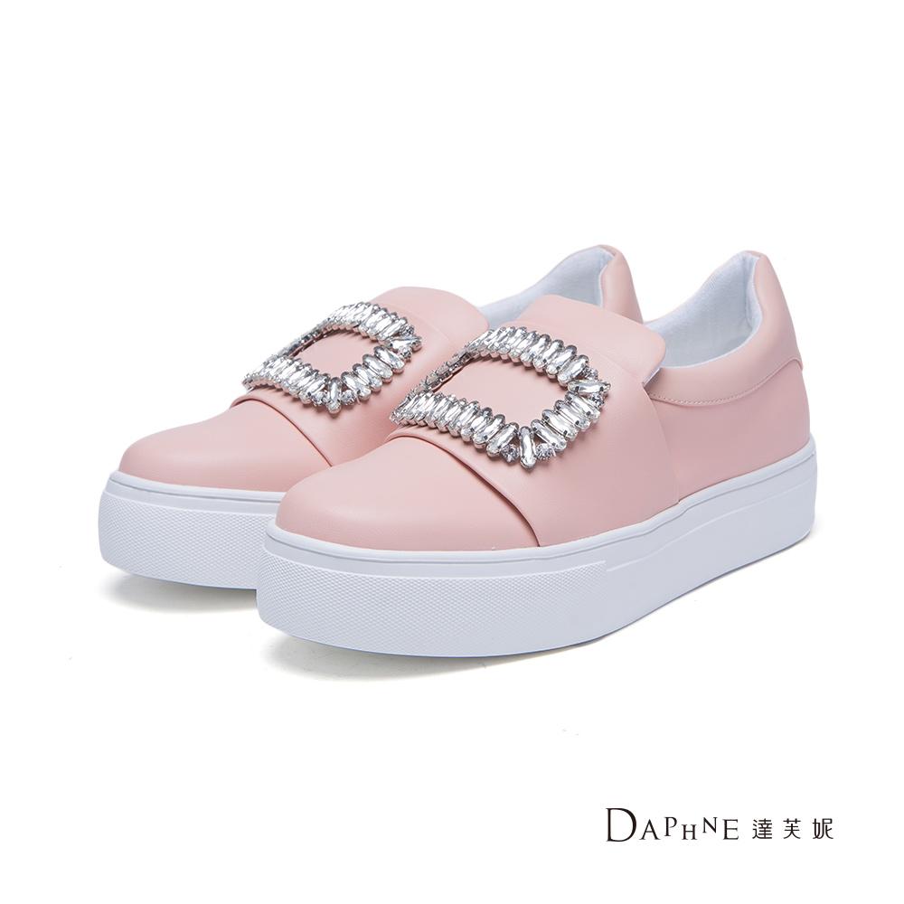 達芙妮DAPHNE休閒鞋-方型鑽飾厚底懶人鞋-粉