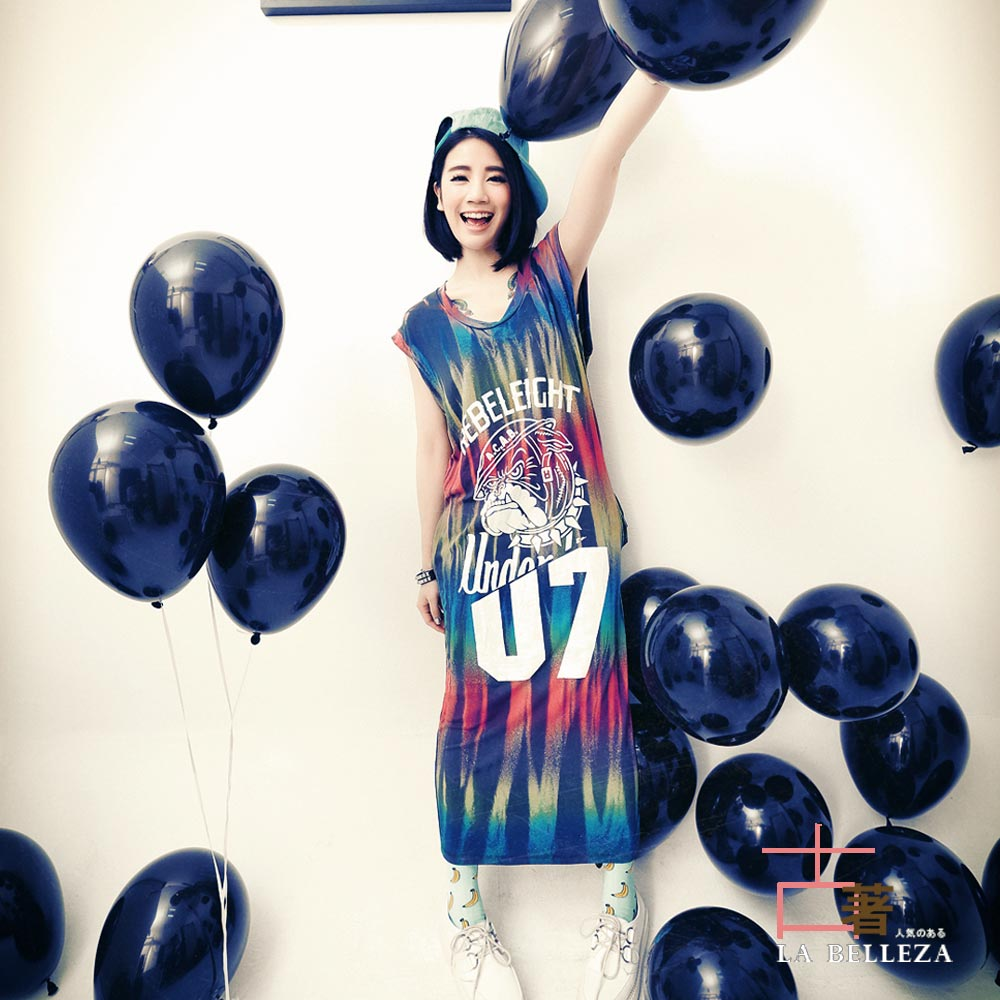 中大尺碼 07號鬥牛犬彩虹直線刷色長版背心裙-La Belleza