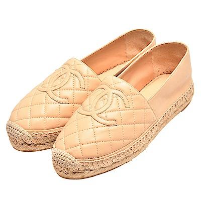 CHANEL 經典Espadrilles菱格車紋小香LOGO羊皮厚底鉛筆鞋(淺駝)