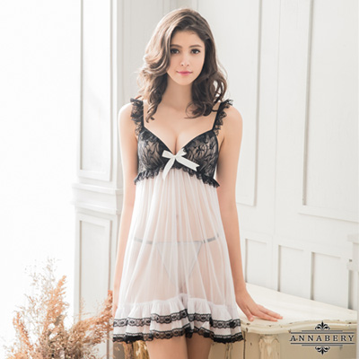 大尺碼Annabery黑白撞色透視薄紗二件式性感睡衣 白色 L-2L Annabery