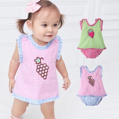 baby童衣 精美刺繡格子罩衫配屁屁滾邊褲套裝61042