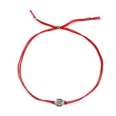 Dogeared 美國品牌 Happy New Year 閃亮圓鑽墜飾 紅色手繩