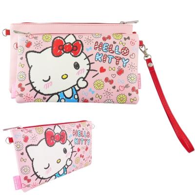 Sanrio三麗鷗皮革彩繪橫式手機袋 萬用包-Kitty飛吻