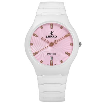 MIRRO 米羅 知性純淨晶鑽藍寶石水晶玻璃日期陶瓷手錶- 粉x白/36mm