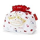Sanrio  HELLO KITTY日本製棉質縮口便當袋(甜蜜草莓)