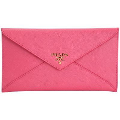 PRADA 信封造型防刮牛皮長夾/手拿包(桃粉色)