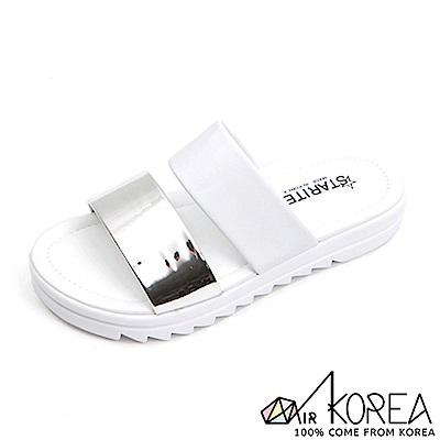 【AIRKOREA】韓國空運樂活夏日撞色柔軟雙帶美腿休閒涼鞋拖鞋 白