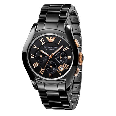 ARMANI 經典陶瓷三眼計時腕錶-黑/玫塊金/42mm