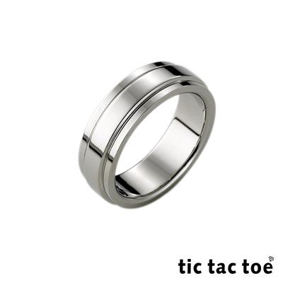tic tac toe 簡單愛白鋼男戒指