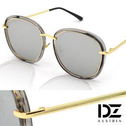 DZ 潮型層線框 抗UV太陽眼鏡造型墨鏡(透灰框水銀膜)