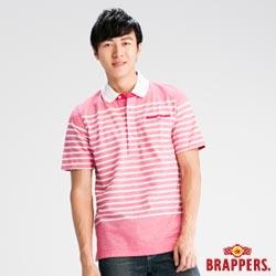 BRAPPERS 男款 經典條紋POLO短袖T恤-粉