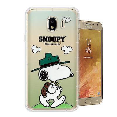 史努比 正版授權 Samsung Galaxy J4 漸層彩繪空壓手機殼(郊遊)