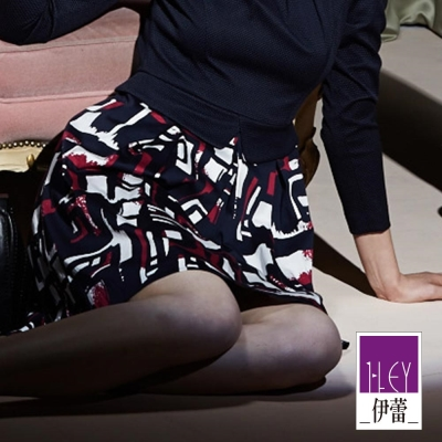 ILEY伊蕾-幾何印花棉質圓裙-藍