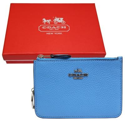 COACH-立體馬車荔枝紋皮革卡夾-零錢鑰匙包-天藍色-附原廠禮盒