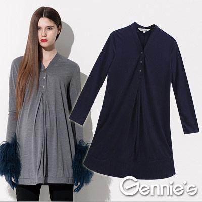【Gennie's奇妮】簡約俐落時尚孕婦長版上衣(C3402)