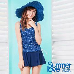 夏之戀SUMMERLOVE 比基尼泳裝 長版二件式蔚藍海軍風泳衣