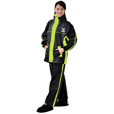 JUMP 雅仕II代套裝休閒風雨衣(黑/螢光黃_M~4XL)加大尺寸-急速配